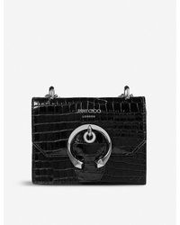 Jimmy Choo Paris Mini Croc-embossed Leather Cross-body Bag - Black