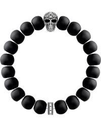 Thomas Sabo - Rebel At Heart Skull Obsidian Beaded Bracelet - Lyst
