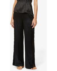 Fleur du Mal Rose Lace-trim Wide-leg Silk-satin Pyjama Bottoms - Black