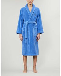 Polo Ralph Lauren Logo-embroidered Terry Dressing Gown - Blue