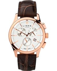 Links of London - 6020.1159 Regent Chronograph Rose Gold Plated Stainless Steel And Leather Watch - Lyst