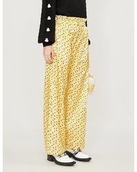 Shrimps Libra Wide-leg Silk And Cotton-blend Pants - Yellow