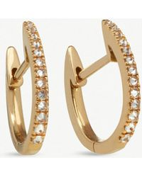 Annoushka - 18ct Yellow Gold And Brown Diamond Eclipse Fine Hoop Earrings - Lyst