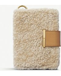 Chaos Shearling And Leather Passport Holder - Natural