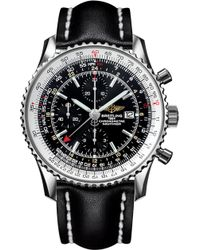 Breitling A2432212/b726/441x/a20ba.1 Navtimer World Chronograph Stainless Steel And Leather Watch - Metallic
