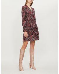 MICHAEL Michael Kors - Shirred Paisley-print Stretch-cloqué Mini Dress - Lyst