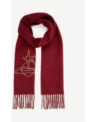 Vivienne Westwood Orb Logo Wool-blend Scarf - Red