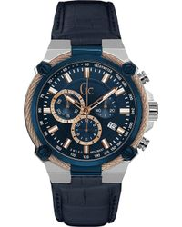 Gc - Y24001g7 Cableforce Stainless Steel And Leather Chronograph Watch - Lyst