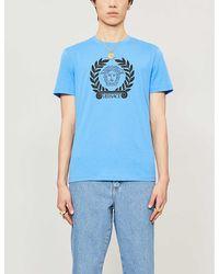 Versace Printed Cotton-jersey T-shirt - Blue