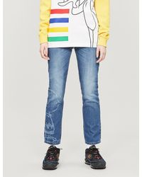 Benetton Snoopy-graphic High-rise Straight Jeans - Blue
