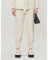 TOPSHOP Ecru Faux Leather Utility Pants - Natural