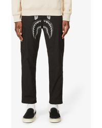 A Bathing Ape Shark-print Cotton-blend Trousers - Black