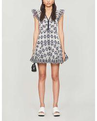 Sandro Floral-print Cotton-blend Mini Dress - Blue