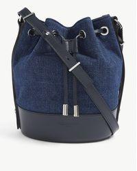 The Kooples Tina Denim And Leather Bucket Bag - Blue
