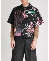 Prada - Contrasting Prints Regular-fit Cotton Shirt - Lyst