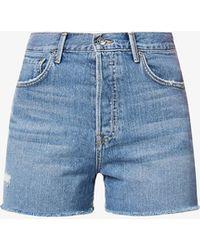 GRLFRND Juels Regular-fit High-rise Denim Shorts - Blue