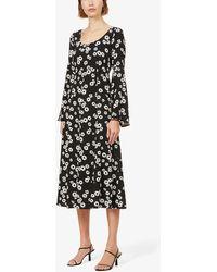 Kitri Elly Floral-print Woven Midi Dress - Black