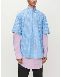 Balenciaga Stripe-jacquard Logo-print Cotton-blend Shirt - Blue