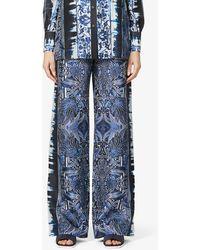 Alberta Ferretti Azulejos Wide-leg High-rise Silk-satin Trousers - Blue