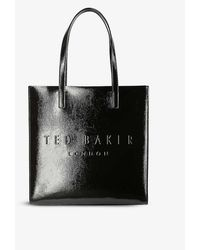 Ted Baker Icon Large Crinkle Patent-embossed Tote Bag - Black