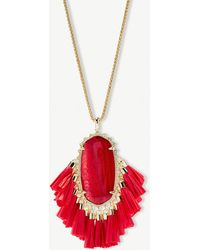 Kendra Scott - Betsy 14ct Gold-plated Red Mother Of Pearl Tassel Necklace - Lyst