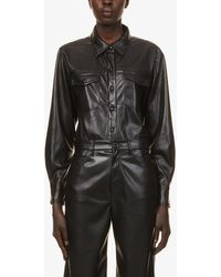 GOOD AMERICAN Collared Faux-leather Shirt - Black