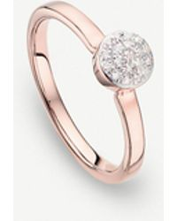 Monica Vinader - Fiji Mini Button 18ct Rose-gold Vermeil And Diamond Stacking Ring - Lyst