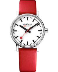 Mondaine - Mse-35110-lc Evo2 Leather And Stainless Steel Watch - Lyst