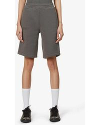 PANGAIA Text-print High-rise Recycled And Organic Cotton-blend Shorts - Grey