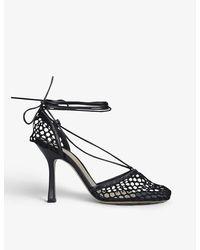 Bottega Veneta Stretch Wraparound Leather And Mesh Courts - Black