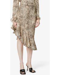 Art Dealer Samantha Leopard-print Stretch-silk Skirt - Natural