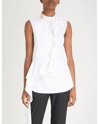 Alexander McQueen - Ruffle-detail Cotton-poplin Shirt - Lyst