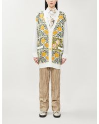 Loewe X William De Morgan Floral-embroidered Wool-blend Cardigan - Multicolor