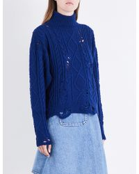 Miharayasuhiro - Distressed Cable-knitted Jumper - Lyst