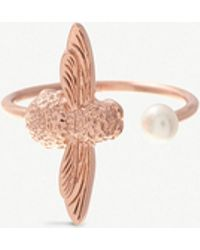 Olivia Burton - Pearl Bee 18ct Rose Gold-plated And Pearl Ring - Lyst