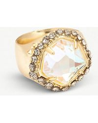 Kendra Scott - Schuyler 14ct Gold-plated And Crystal Cocktail Ring - Lyst