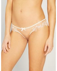 Agent Provocateur Lindie Mid-rise Embroidered Floral Mesh Briefs - Natural