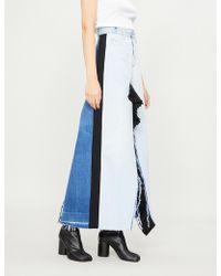 Ksenia Schnaider - Pleated-trim Distressed Denim Skirt - Lyst