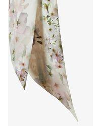 Ted Baker Fionnaa Vanilla-print Skinny Silk Scarf - White
