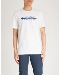 Michael Kors - Printed Logo Cotton-stretch T-shirt - Lyst
