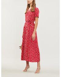 HVN Long Maria Seashell-print Silk Shirt Dress - Red