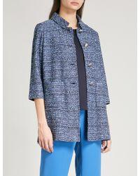 St. John - Cropped-sleeved Tweed Coat - Lyst
