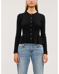 Sandro Peplum Button-through Knitted Cardigan - Black