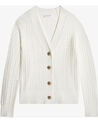 Claudie Pierlot Straight-cut Long-sleeve Knitted Cardigan - White