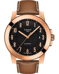 Tissot - T098.407.36.052.01 Gentleman Rose Gold-plated Stainless Steel And Leather Watch - Lyst
