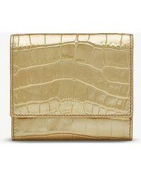 Smythson - Mara Crocodile-embossed Metallic Leather French Purse - Lyst