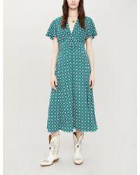 Sandro Square-print Crepe Midi Dress - Green
