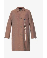 Song For The Mute Boogeyman Checked Frayed-trim Cotton-blend Coat - Brown