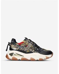 Kurt Geiger Lettie Studded Leather And Mesh Sneakers - Multicolor
