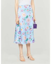 Olivia Rubin Penelope High-waist Floral-print Silk-crepe Midi Skirt - Blue